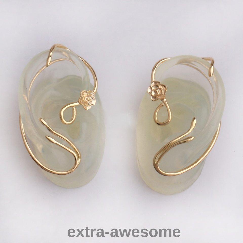 Beauty and the Beast Earrings Ear Cuff Gold Rose Stud Jewellry ...